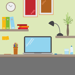 Computer desk. Workplace in flat cartoon style. EPS10 compatible and editable.