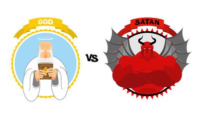 God vs Satan. Good grandfather with white beard and Halo above h