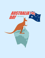 Day Australia. Patriotic holiday State. Kangaroos and Australian