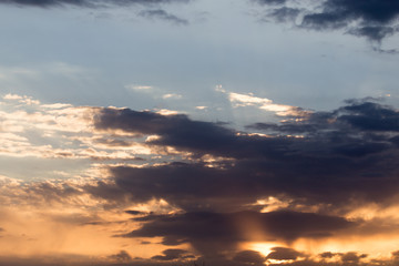beautiful sky with clouds at dawn