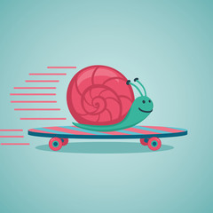 Fast snail. Snail on a skateboard.