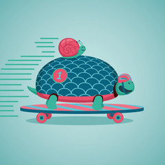 Slow but fast.Turtle and snail are riding on a skateboard.