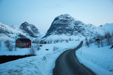 Norway lofoten winter landscape