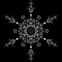 Snowflake icon graphic sign symbol drawing. White snowflake isolated on black background. High resolution detailed graphic illustration flake of snow