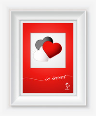 Valentines day card with hearts and words of love in white frame