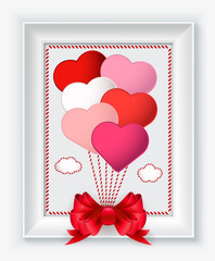Valentines day card with hearts and red bow in white frame