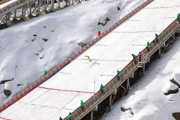Ski jumping. Height of 120 meters springboard