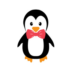 penguin and tie on a white background