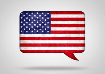 Sprechblase mit Amerikanischer Flagge