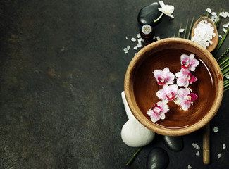 Spa background with floating flowers