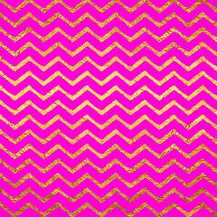 Gold Faux Foil Chevrons Metallic Hot Pink Magenta Background Che