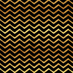 Gold Chevron Faux Foil Metallic Black Background Pattern
