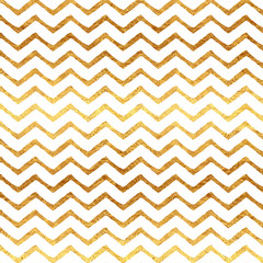 Gold Faux Foil Chevron Metallic White Background Pattern