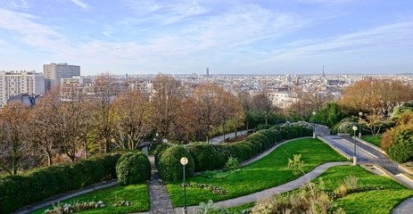 Panoramic view of the Paris skyline from the Parc de Belleville in the 20th arrondissement