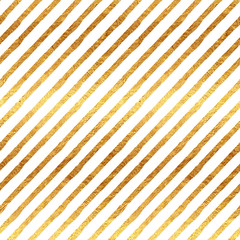 Gold Stripes Faux Foil Metallic White Background Pattern