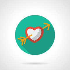 Heart with arrow round flat vector icon