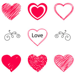 Isolated vector hearts set. Hand drawn.