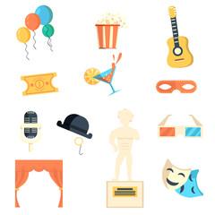Entertaining icons flat set