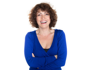 Laughing business woman smiling against white background with copy space