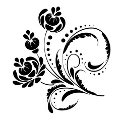 vector black and white floral vignette with curls on a white background