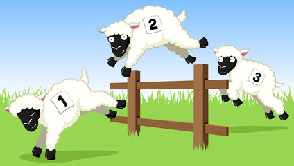 Vector illustration of three cartoon sheep jumping over a fence.