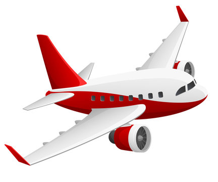 Vector illustration of a red and white jet airliner in flight.