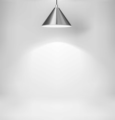 Steel ceiling lamp on gray backdrop. Vector