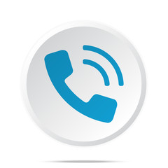 Flat blue Phone icon on circle web button on white