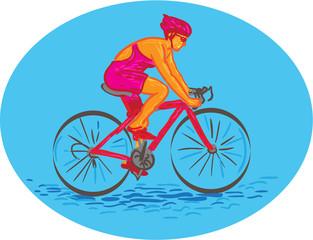 Female Cyclist Riding Bike Drawing