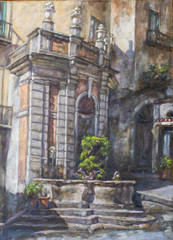 oil painting of the fountain with fish