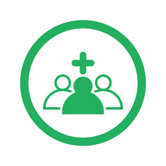Flat green Medical Team icon and green circle
