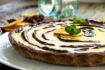 Orange pie with chocolate