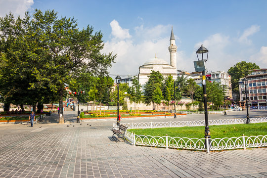 ISTANBUL - AUGUST 18: Sultanahmet Square on August 18, 2015 in Istanbul. Sultanahmet Square is historic district of Istanbul near the Blue Mosque, it is a popular area among tourists