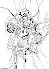 Hand drawn and doodle style girl dancing belly dance. Abstract graphic design, can use for posters cards, stickers, illustrations, as decorative element.