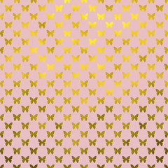 Gold Pink Butterflies Polka Dot Metallic Faux Foil Background Pa