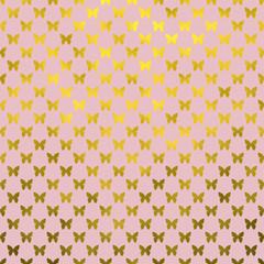 Gold Pink Butterflies Polka Dot Metallic Faux Foil Background Pa