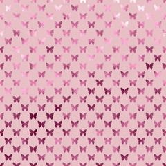Pink Butterflies Polka Dot Metallic Faux Foil Background Pattern