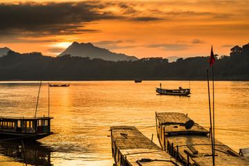 Tour boats in Mekong river, Luang Prabang, Laos