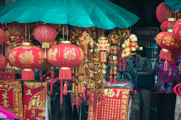 Chinese lanterns hang in front of shop at China town Market. during new year festival.