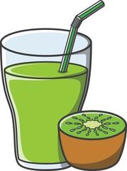 Kiwi juice doodle illustration design