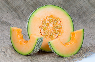 Melons, cantaloupe slices isolated on white background