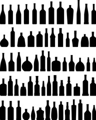 Set of different silhouettes bottles isolated on white background. Vector illustration.