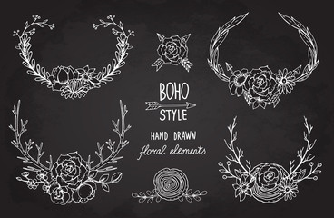 Collection of vector hand drawn floral elements in boho style
