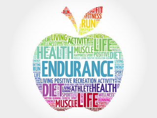 Fototapeta ENDURANCE apple word cloud, health concept obraz