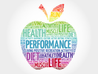Fototapeta PERFORMANCE apple word cloud, health concept obraz