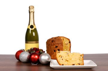 Fototapeta Champagne and cake isolated obraz