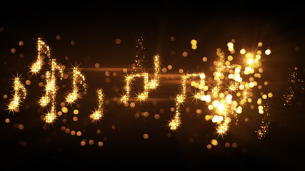 glittering music notes and fireworks