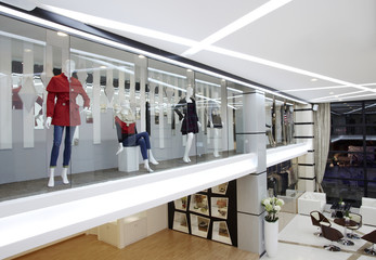 Fashionable window of modern store in clubhouse