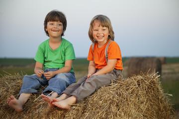 Fond de hotte en verre imprimé Artiste KB boy in a haystack in the field