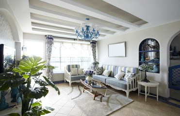 Mediterranean-style living room interiors